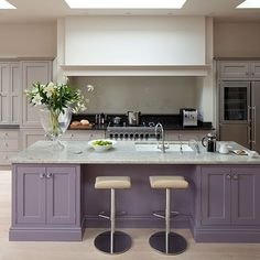 Need some kitchen-diner decorating ideas? Take a look at this spacious kitchen-diner from Beautiful Kitchens for inspiration. For more kitchen ideas, visit our kitchen galleries Purple Kitchen Cabinets, Grey Kitchen Island, Painting Kitchen Cabinets, Kitchen Paint, Kitchen Colors, Home Decor Kitchen, New Kitchen, Home Kitchens, Kitchens