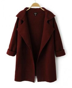 For Vonzel Shop Wine Red Lapel Long Sleeve Loose Knit Coat online. SheIn offers Wine Red Lapel Long Sleeve Loose Knit Coat & more to fit your fashionable needs. Cardigan En Maille, Red Cardigan, Long Cardigan, Cardigan Sweaters, Hooded Sweater, Oversized Cardigan, Knitted Coat, Look Fashion, Fall Fashion