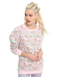 "<div><div>Cats? Donuts?? Perfect pairing! This pink sweater has an allover print of Pusheen and donuts. It makes us want to curl up and enjoy a rainy day with sweets and a kitty! </div><ul><li style=""list-style-position: inside !important; list-style-type: disc !important"">60% cotton; 40% polyester</li><li style=""list-style-position: inside !important; list-style-type: disc !important"">Wash cold; dry lo..."