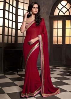 Maroon Georgette Saree With Blouse Online shopping : 439SR14