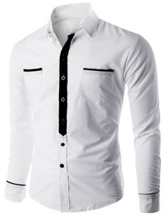 Doublju Men's Button Down Casual Shirt with Contrast Placket (CMTSTL013) #doublju