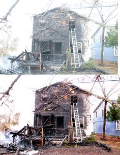 After the fire, before and after correct color, hue, luminance, contrast, black and white depth.