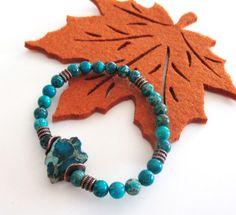 Blue Slab Bracelet Variscite Beaded Elastic by BijiJewelry on Etsy