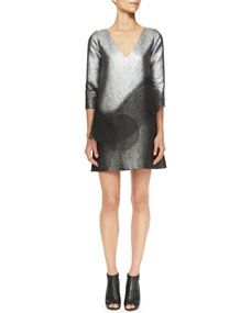 Metallic Minidress with Swirling Peplum Marc Jacobs