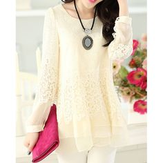 Women's Sweet Scoop Neck Lace Splicing Long Sleeve T-Shirt, OFF-WHITE, 2XL in Tees & T-Shirts | DressLily.com