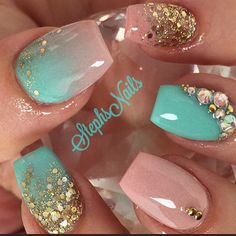 Blue, pink, and gold nails