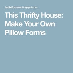 This Thrifty House: Make Your Own Pillow Forms Make Your Own Pillow, How To Make Pillows, Pillow Forms, School Projects, Seasonal Decor, Sewing Projects, Sewing Ideas, House, Bathroom Mirrors