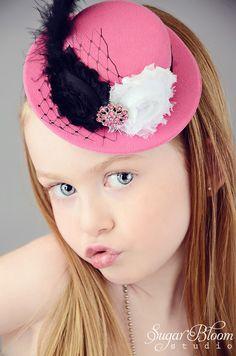 Newborn Headbands..Baby Girls Headbands..Baby Headbands..Mini Top Hat..Alice in Wonderland..Tea Party..Pink Headbands on Etsy, $19.99