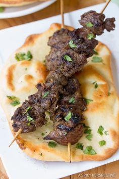 """Simple """"Street Meat"""" Grilled Lamb Kebabs   ASpicyPerspective.com"""