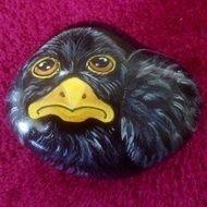 Hand painted rock garden blackbird