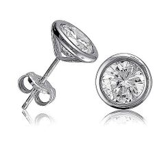 Sterling Silver Bezel Martini Cubic Zirconia CZ Solitaire Earrings, Valentine's Day Gift BERRICLE. $24.99. Metal : Stamped 925. Gender : Unisex-Adult. Stone Total Weight (ct.tw) : 2.5. Stone Type : Cubic Zirconia