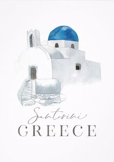 <br> Travel by JunkyDotCom - Hand drawn in watercolor Greek house or church in romantic traditional white and blue as on the beautiful island of Santorini. Any design wishes? Just contact me and I will make it for you without extra costs Watercolor Sketch, Watercolor Illustration, House Illustration, Greece Drawing, Hight Light, Greek Paintings, Bullet Journal Travel, Greek House, Urban Sketching