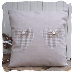 ~ Handmade French Linen Cushion with Gingham Hearts. Sewing Pillows, Diy Pillows, Decorative Pillows, Throw Pillows, Heart Cushion, Heart Pillow, Cushions To Make, Scatter Cushions, Sewing Crafts