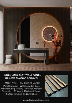 2021 NEW COLOURED FLUTED PANEL The Modern Coloured Fluted panel range is the latest addition to our FLUTED ( Black Background ) collection. Produced with a smoother, modern-looking metallic finish with black line.The Modern coloured fluted panel range is perfect if you are looking for the Modern slat look design also with stylish and luxury feature walls. Mirror Panel Wall, Wood Panel Walls, Wall Partition Design, Wall Design, Textured Wall Panels, Faux Brick Walls, Luxury Background, Slat Wall, Black Walls