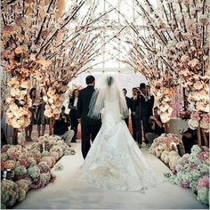 We love the idea of an indoor wedding ceremony with an outside feel.