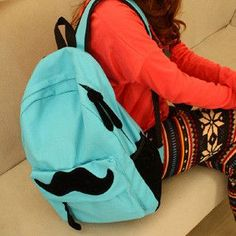 Simple Pure Color Lovely Mustache School Backpack