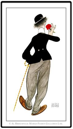 "AL HIRSCHFELD'S portrait of ""Charlie Chaplin, The End."""