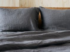 Layer your bed withn this premium lust-worthy pure linen quilt cover and two pure linen pillow cases and quite frankly you probably won't want to get out of bed, ever. Grey Pillow Covers, Grey Pillows, Duvet Covers, Linen Sheets, Linen Bedding, Bed Linens, Mustard Bedding, Where To Buy Bedding, Best Sheets