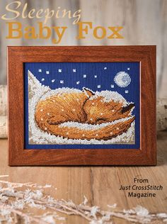 Sleeping Baby Fox from the Jan/Feb 2017 issue of Just CrossStitch Magazine. Order a digital copy here: https://www.anniescatalog.com/detail.html?prod_id=134887