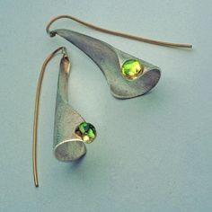 Earrings - Studio Numen  Green in the Winter Sterling Silver, 22K Gold, 14K Gold, Peridots