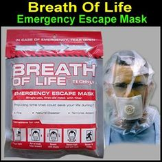 The Breath Of Life™ Emergency Escape Mask - Great for your EDC kit. #shtf #prepping #emergency