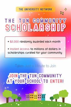 Join the TUN community at your school to enter! $2,000 randomly awarded each month / instant access to millions of dollars in scholarships curated for your community! Millions Of Dollars, Scholarships For College, Instant Access, University, Community, School, Community College, Colleges
