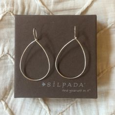 stainless steel silver hoops | NWOT stainless silver hoops / never worn / comes in original box in bag / brand: silpada Silpada Jewelry Earrings