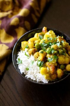 Curried Chick pea and Cauliflower on rice...not going to lie, I'm taking this idea and getting the curry out of a jar.