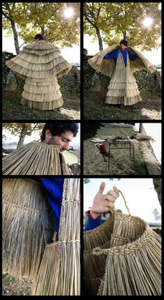 "Portuguese ""croças"" - used by shepherds to protect themselves from rain. Flax Weaving, Willow Weaving, Folk Costume, Costumes, Japanese Farmer, Maori Patterns, Portugal, Primitive Survival, Portuguese Culture"