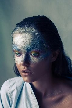 Glitter makeup look by Adrián Ruiz for for Sicky Magazine