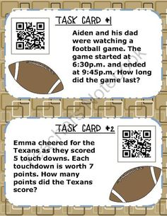 Self-Checking Task Cards - Football Freebie from Olivia Watson - TechTeacherLiv on TeachersNotebook.com -  (4 pages)  - Multistep word problems on a self checking task card with QR code that links to a video of how to solve the given problem