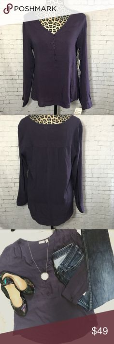 "NWT Hinge Rayon Long Sleeve deep purple Blouse Top This is brand new with tags!  Gorgeous textured deep purple rayon  v neck. 5 buttons. Armpit to armpit measures 21"" laying flat. Front length measures 24"", back length 27"". Hinge is sold at Nordstrom Hinge Tops Blouses"