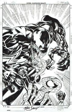 Spider-Girl #3 (German) COVER by Mark Bagley, 2000 --- VS VENOM! Comic Art