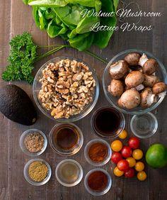 Raw Walnut Mushroom Taco Lettuce Wraps - Rawmazing Raw and Cooked Vegan Recipes Healthy Vegan Snacks, Raw Vegan Recipes, Vegan Foods, Healthy Eating, Healthy Recipes, Veggie Lettuce Wraps, Lettuce Tacos, Salat Wraps, Raw Food Recipes
