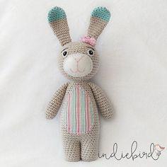 Crochet Bunny, Amigurumi Soft Toy, Bunny Toy, Personalised Mint/Pink Bunny