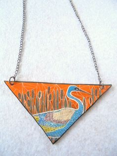 Painting necklace by PuepueGuzaque on Etsy Mom Jewelry, Jewelry Art, Unique Jewelry, Painting, Etsy, Trending Outfits, Handmade Gifts, Silver, Enamel