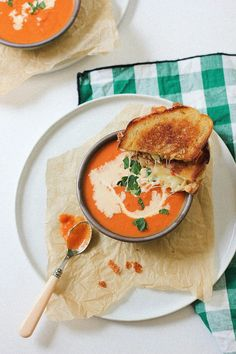 Dress up a classic with this flavorful crab grilled cheese and creamy tomato bisque. Get the full recipe at HannahBerryMakes.com