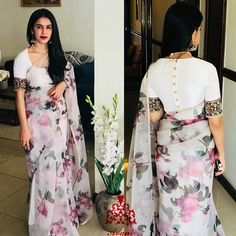 Floral saree with designer blouse Modern Indian Saree CLICK Visit link above for more options Classic Indian Sari Press VISIT link above for more options Saree Blouse Neck Designs, Fancy Blouse Designs, Saree Blouse Patterns, Indian Blouse Designs, Organza Saree, Organza Dress, Cotton Saree, Stylish Blouse Design, Designer Blouse Patterns