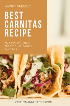 This carnitas recipe is so easy to make but also macro-friendly and low in fat. Throw the ingredients in the crockpot, wait a few hours, then make some delicious tacos, salads, or quesadillas from our Sol Food cookbook! Herb Recipes, Real Food Recipes, Healthy Recipes, Healthy Options, Healthy Foods, Sin Gluten, Crockpot Carnitas Recipes, Meal Plan Printable, Macro Friendly Recipes
