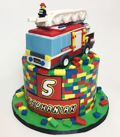 Delicious Arts On Instagram Happy 5th Birthday Zephaniah Deliciousarts Lego Legocake Legofiretruck Legofireman Legobricks Firetruck Fireman Cake
