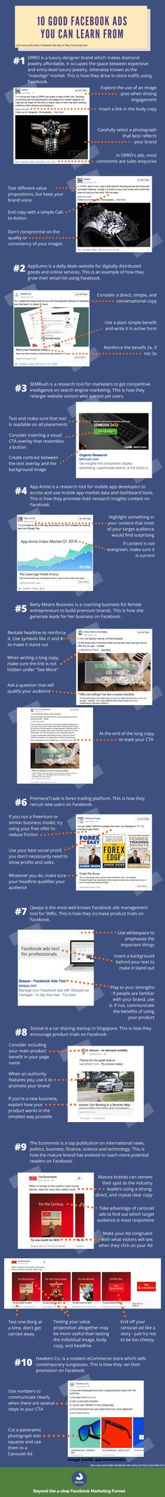 10 Good Facebook Ads You Can Learn From - infographic  #RePin by AT Social Media Marketing - Pinterest Marketing Specialists ATSocialMedia.co.uk