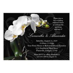 Formal Dinner Rehearsal Dinner Invitations Rich Black w/ Orchid Rehearsal Dinner Invitations