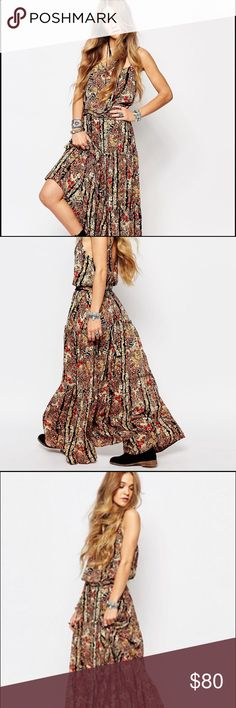 Maxi Dress by Free People Lightweight woven fabric. Square neckline. Dropped armholes. Fitted waistband. Cross strap back. Regular fit - true to size. 100% Rayon. Brand New. Free People Dresses Maxi