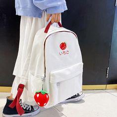 Modern Backpack, Red Backpack, Cute Mini Backpacks, Kawaii Bags, Cute Strawberry, Cute Bags, Knitted Bags, Red Fashion, School Backpacks