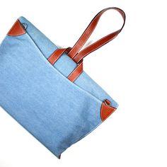 QUOTE Criss-Cross Bag -- leather n canvas (Blue denim) – Supermarket