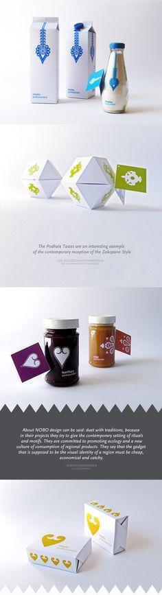 Smaki Podhalańskie - THE PODHALE TASTES - system of packages for these regional food products #smakipodhalanskie #folkpackaging #podhale #ecofood #folkdesign #oscypek #bryndza #parzenica #rozeta #ornamentyka #ornamentation