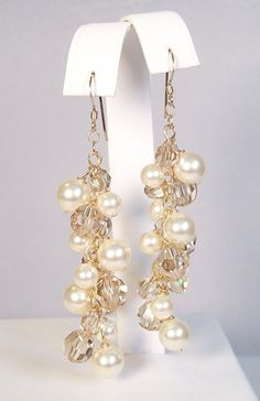 Ivory Pearls & Champagne Crystals - 14k gold, chandelier earrings Wedding earring jewelry, butter, off white, soft ivory, cream, light brown. $59.00, via Etsy.