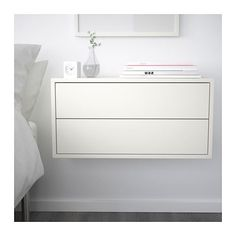 Could make a long walk of storage/desk with EKET Cabinet with 2 drawers, white - white - IKEA Ikea Bedroom, Eket, Decor, Ikea, Furniture, Storage Furniture, Floating Nightstand, Bedroom Design, Small Bedroom
