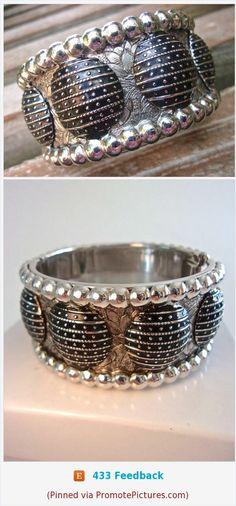 WHITING & DAVIS Black Enamel Etched Flowers Bracelet, Hinged, Silver Tone, Vintage #bracelet #hinged #bangle #whitingdavis #whiting&davis #black #enamel #silvertone #etched #vintage https://www.etsy.com/RenaissanceFair/listing/545042119/whiting-davis-black-enamel-etched?ref=listings_manager_grid  (Pinned using https://PromotePictures.com)