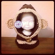 Monkey Hooded Cowl crochet pattern